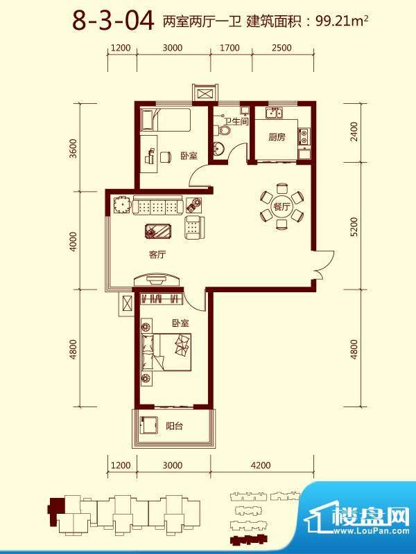 天滋嘉鲤户型图一期8号楼03单元面积:99.21平米