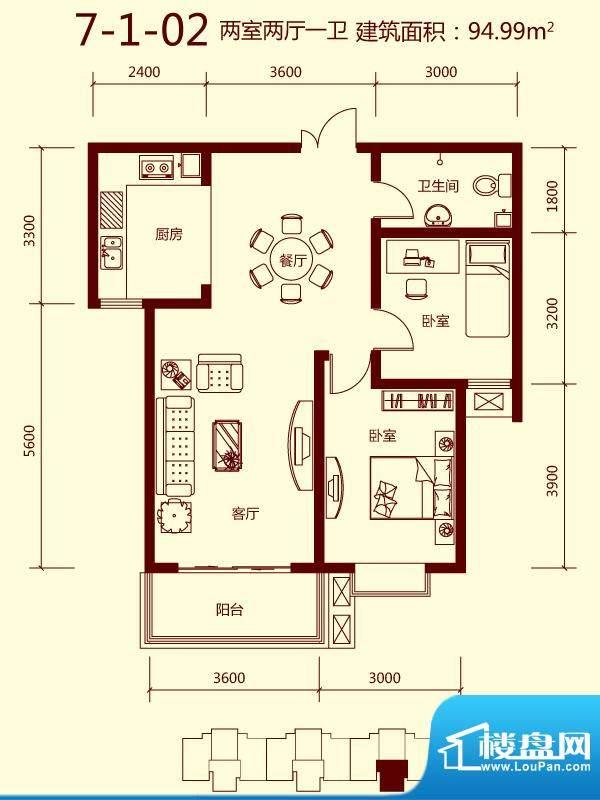 天滋嘉鲤户型图一期7号楼1单元面积:94.99平米