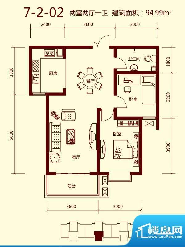 天滋嘉鲤户型图一期7号楼2单元面积:94.99平米