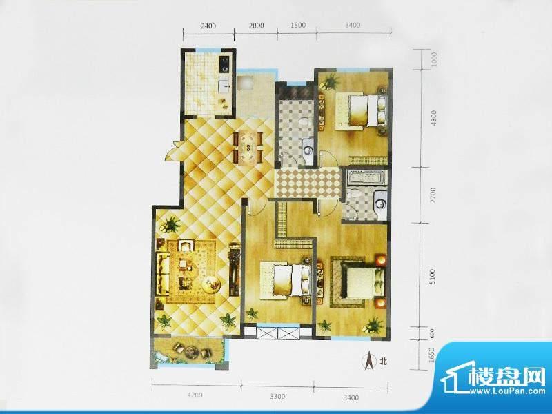锦麟户型图2C户型 3室2厅2卫1厨面积:160.36平米