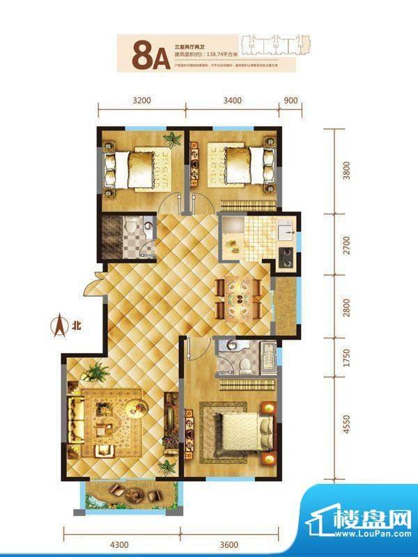 锦麟户型图8号楼A户型 3室2厅2面积:138.74平米