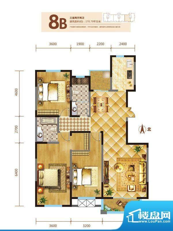 锦麟户型图8号楼B户型 3室2厅2面积:170.79平米