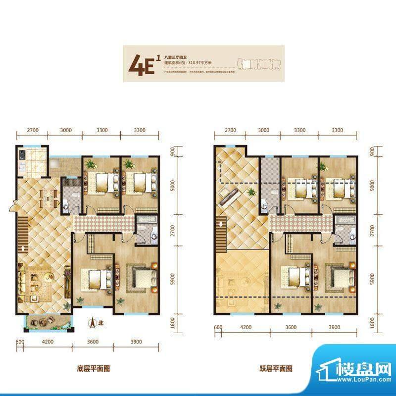 锦麟户型图4号楼跃层E1户型 8室面积:310.97平米