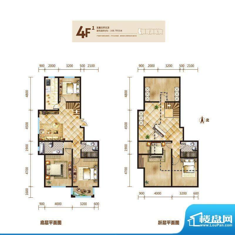 锦麟户型图4号楼跃层F1户型 5室面积:168.70平米