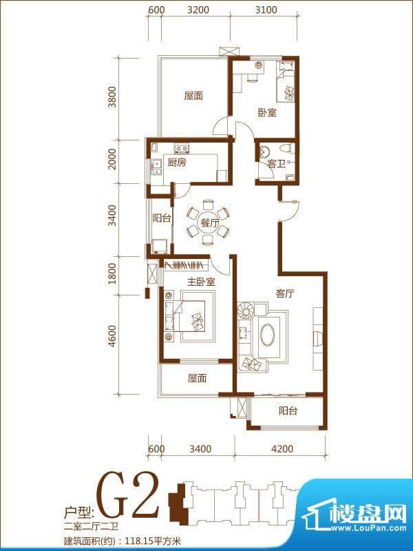 锦麟户型图G2户型 2室2厅2卫面积:118.15平米