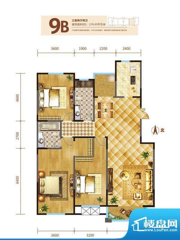 锦麟户型图9号楼B户型 3室2厅2面积:176.65平米