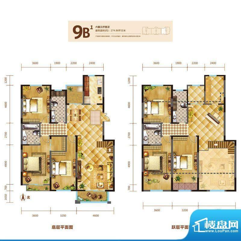 锦麟户型图9号楼跃层B1户型 6室面积:274.86平米