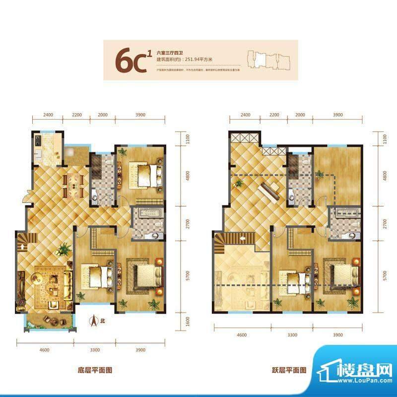 锦麟户型图6号楼跃层C1户型 6室面积:251.94平米