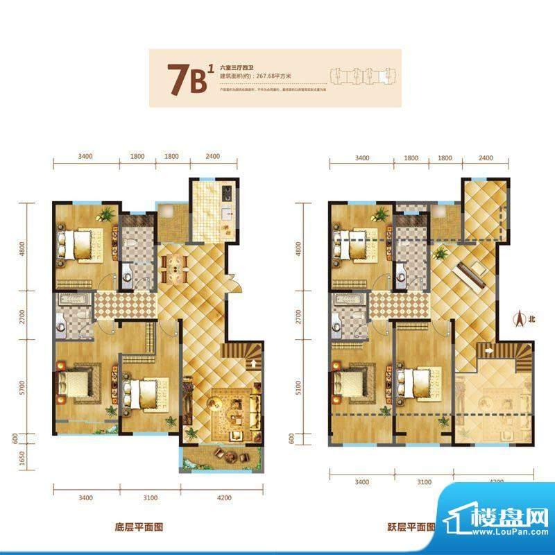 锦麟户型图7号楼跃层B1户型 6室面积:276.68平米