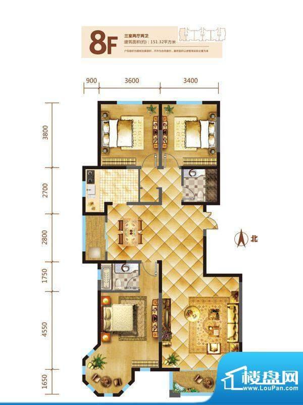 锦麟户型图8号楼F户型 3室2厅2面积:151.32平米