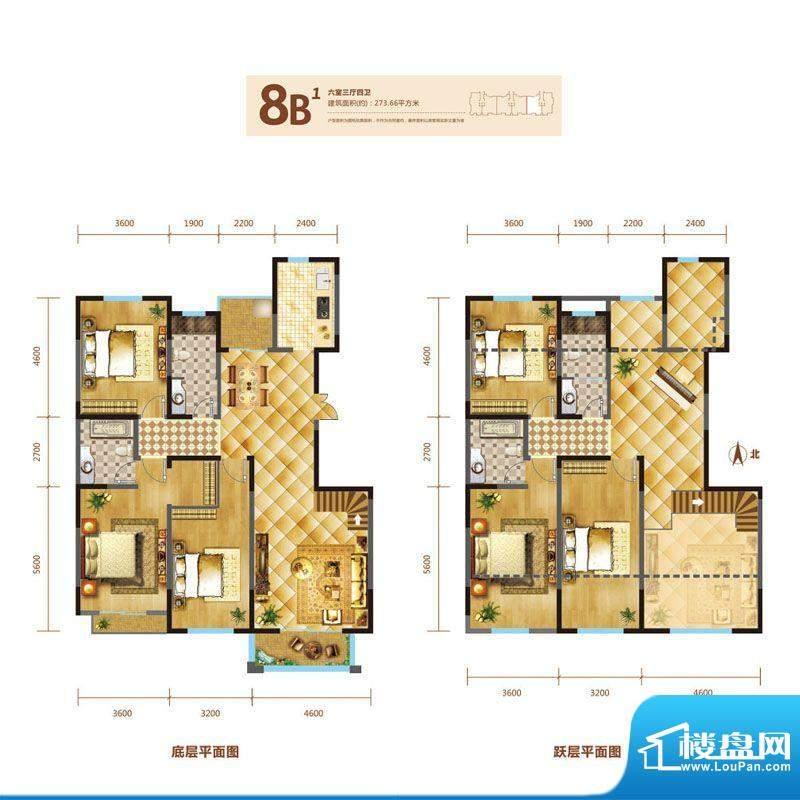 锦麟户型图8号楼跃层B1户型 6室面积:273.66平米