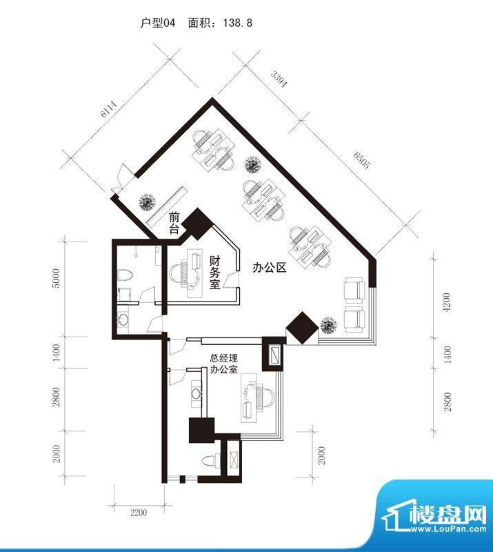 中天世都户型图a区6户公寓办公面积:139.56平米