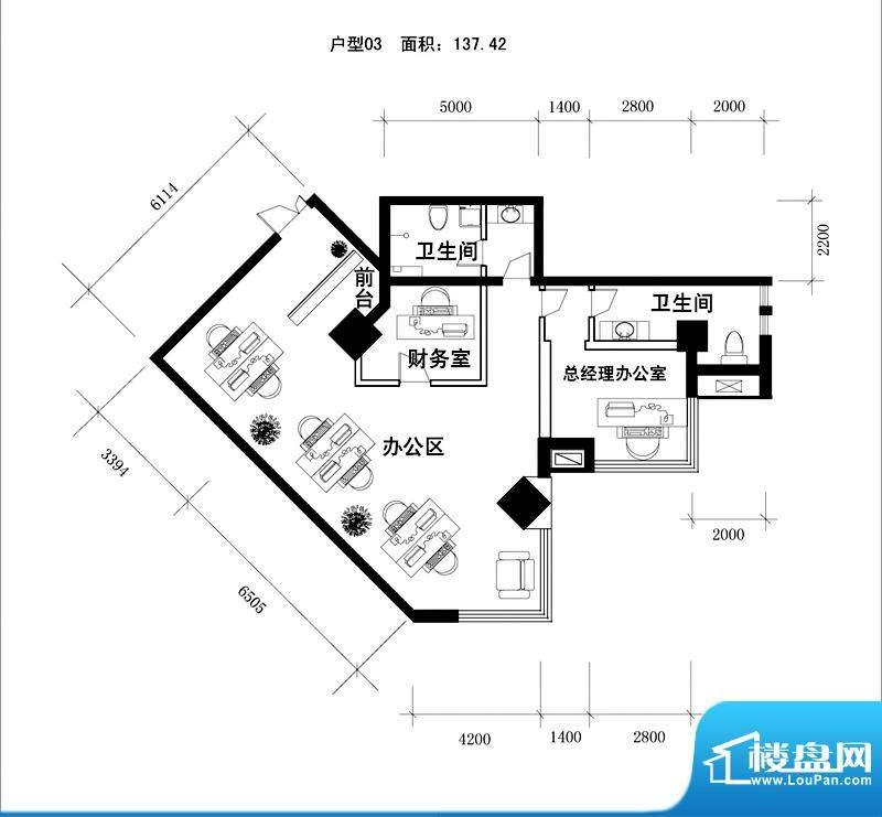 中天世都户型图a区6户公寓办公面积:138.58平米