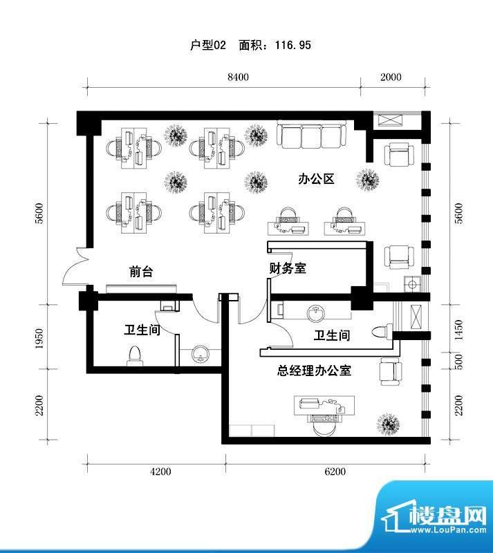 中天世都户型图a区6户公寓办公面积:119.58平米
