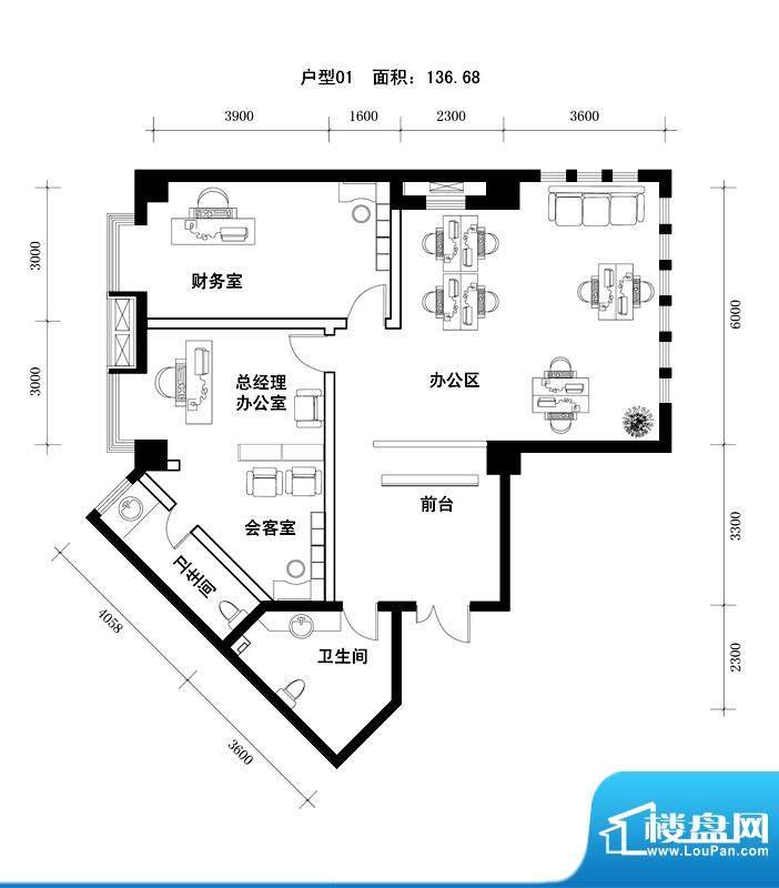 中天世都户型图a区6户公寓办公面积:141.52平米