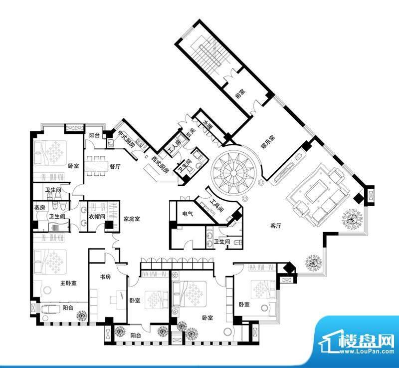 中天世都户型图楼王瓷器公馆平面积:565.43平米