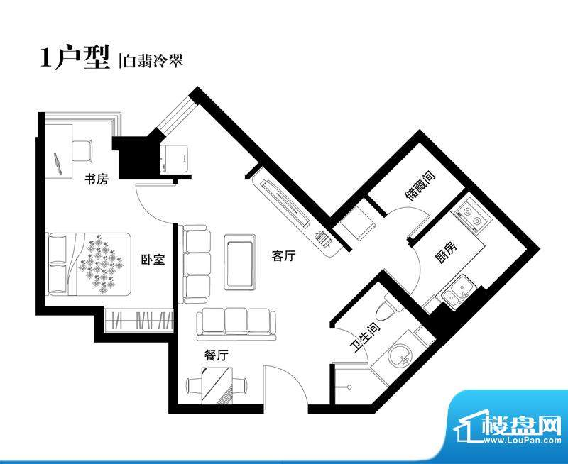 中天世都户型图01户型 1室2厅1面积:63.64平米