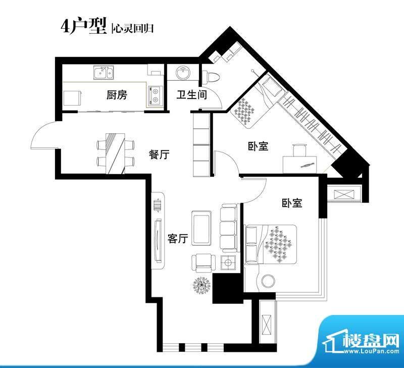 中天世都户型图04户型 2室2厅1面积:94.29平米