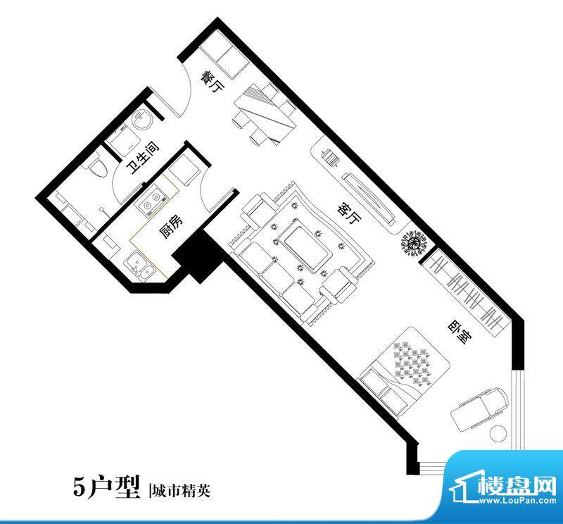 中天世都户型图05户型 1室1厅1面积:68.46平米