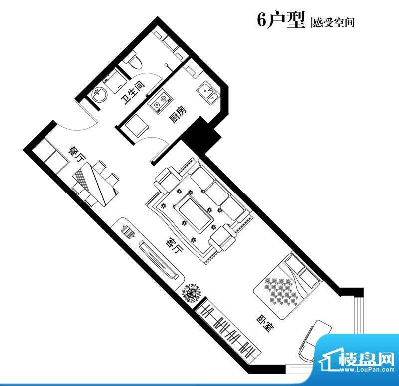 中天世都户型图06户型 1室2厅1面积:68.46平米