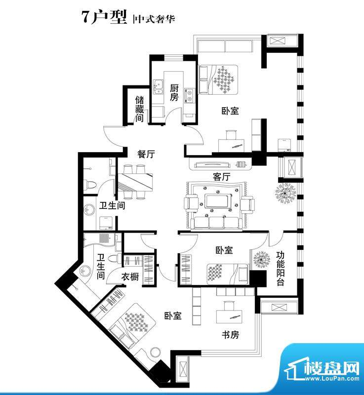 中天世都户型图07户型 4室2厅2面积:169.34平米