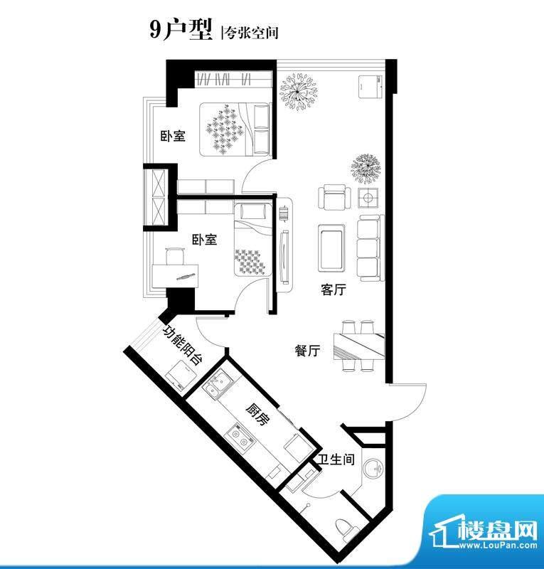 中天世都户型图09户型 2室2厅1面积:85.85平米