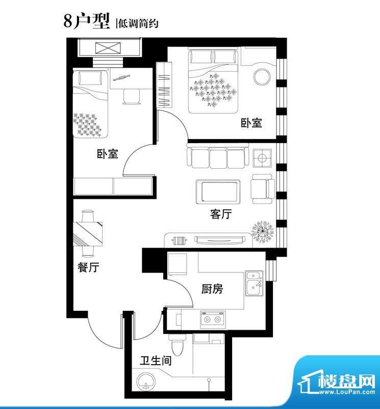 中天世都户型图08户型 2室2厅1面积:66.09平米