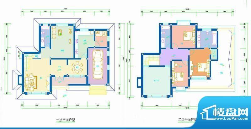 水印长滩户型图户型平面-01 3室面积:246.00平米