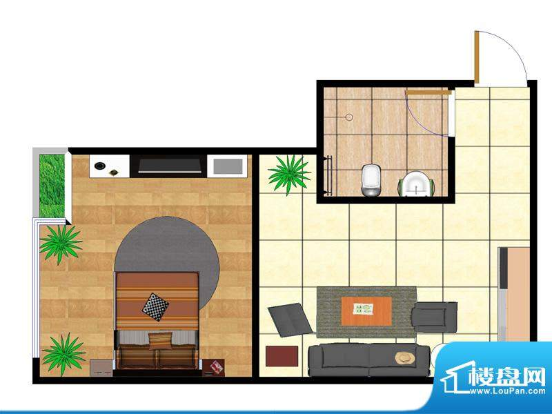 东城国际广场户型图2#正西 1室面积:52.00平米