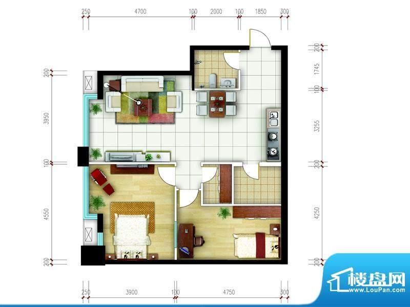 东城国际广场户型图2#正西组合面积:101.00平米