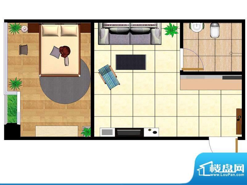 东城国际广场户型图2#正西 1室面积:49.00平米