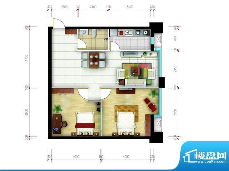 东城国际广场户型图2#正东J户型面积:76.00平米