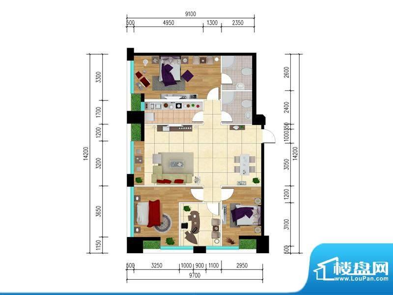 东城国际广场户型图2#西南组合面积:100.01平米