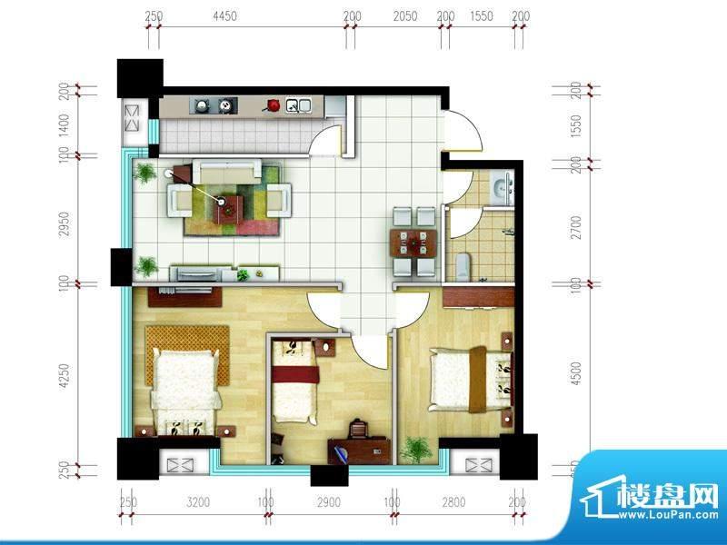 东城国际广场户型图2#西南C户型面积:100.01平米