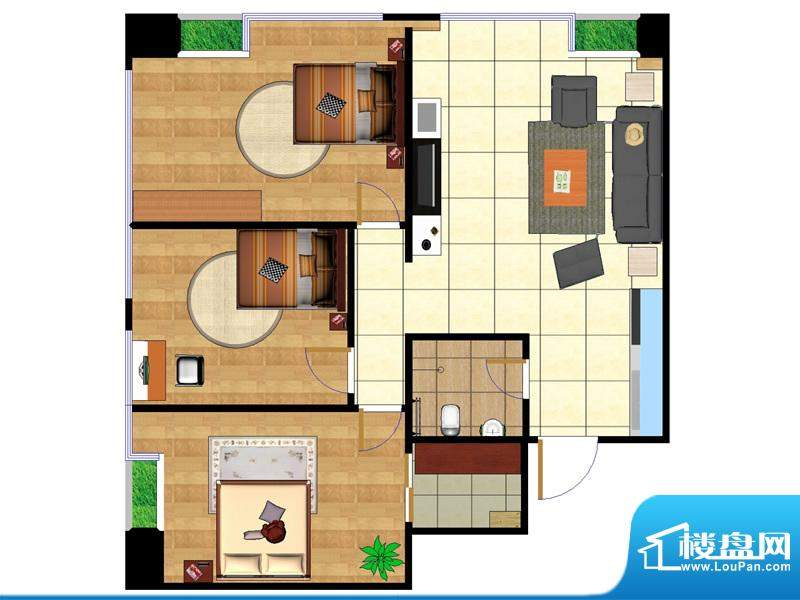 东城国际广场户型图2#西北组合面积:100.01平米