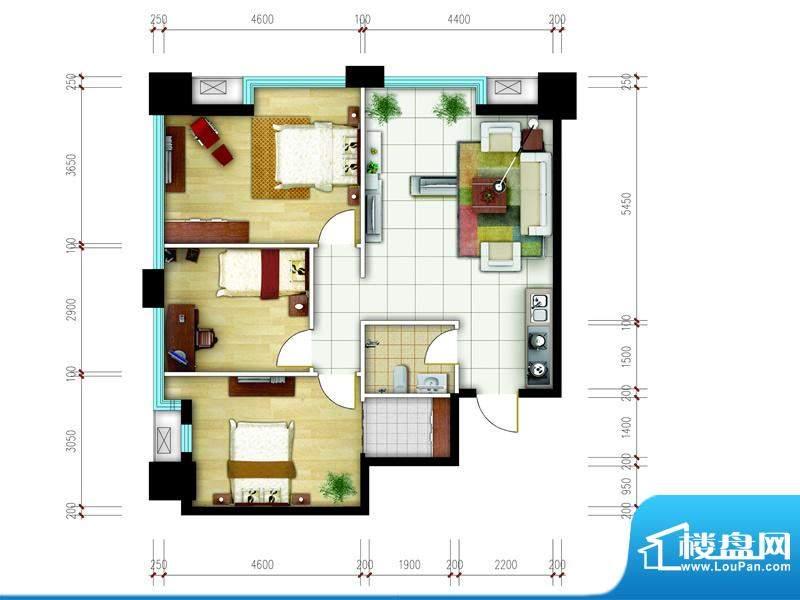东城国际广场户型图2#西北组合面积:102.00平米