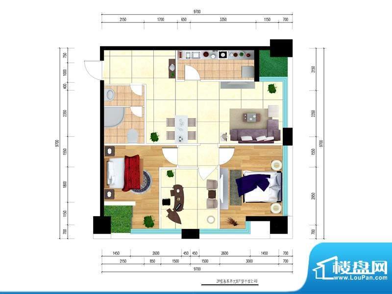 东城国际广场户型图2#东南户型面积:80.69平米