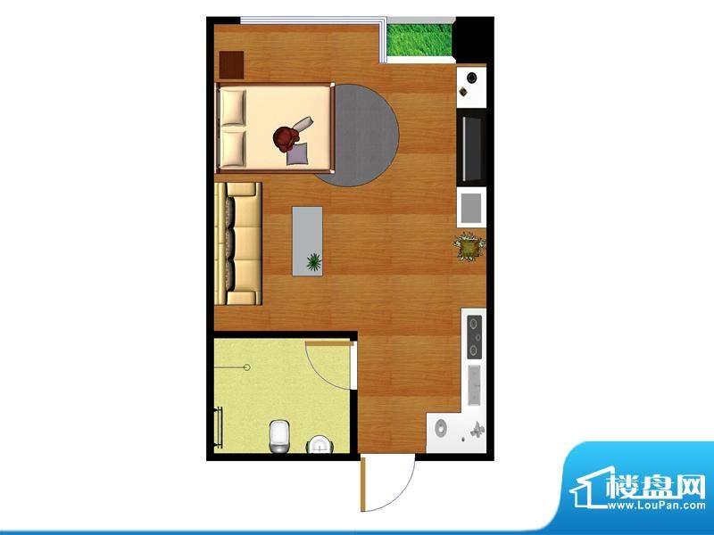 东城国际广场户型图2#北侧40平面积:40.00平米