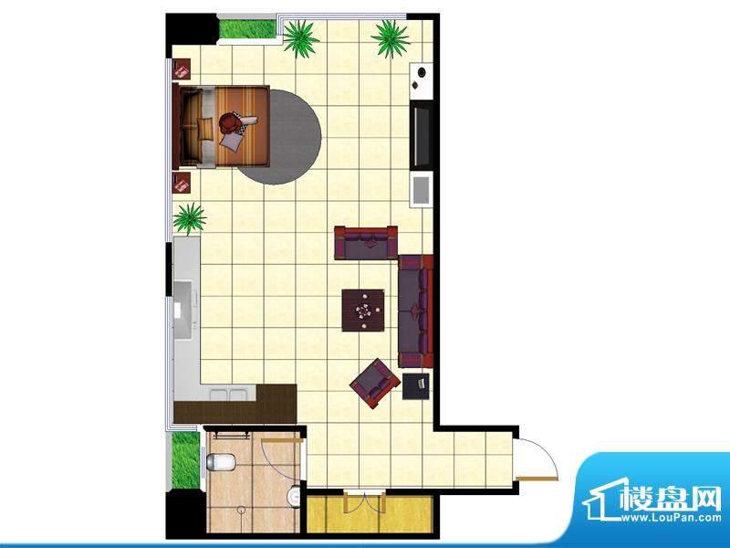 东城国际广场户型图2#F户型西北面积:61.00平米
