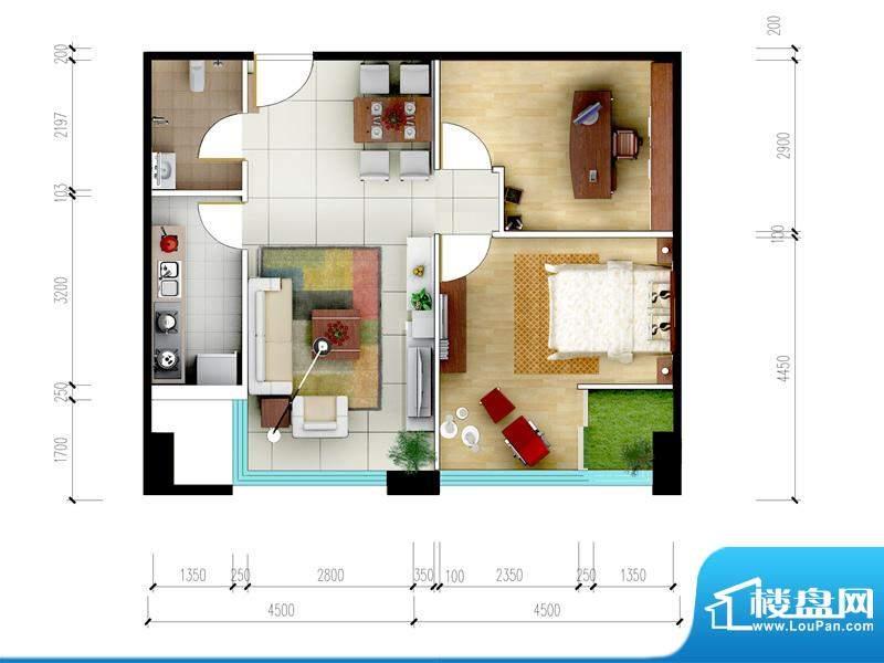 东城国际广场户型图2#A+A1正南面积:70.80平米