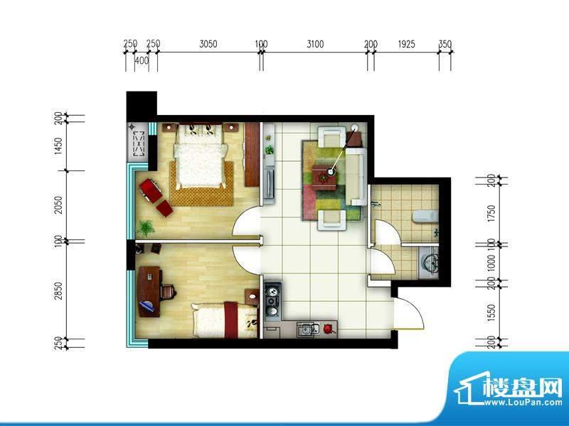 东城国际广场户型图1#正西F户型面积:70.00平米