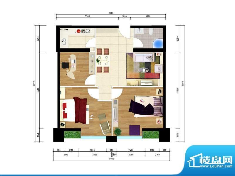 东城国际广场户型图1#正南106三面积:106.00平米