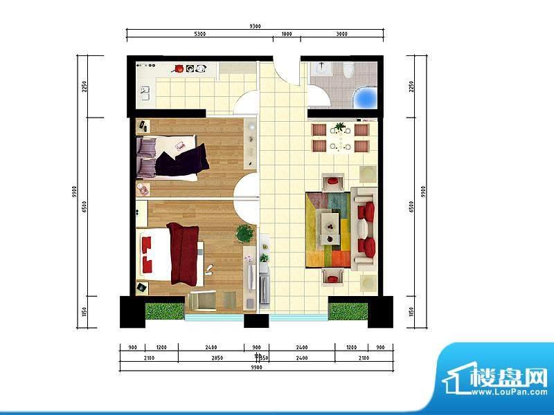 东城国际广场户型图1#正南106两面积:106.00平米
