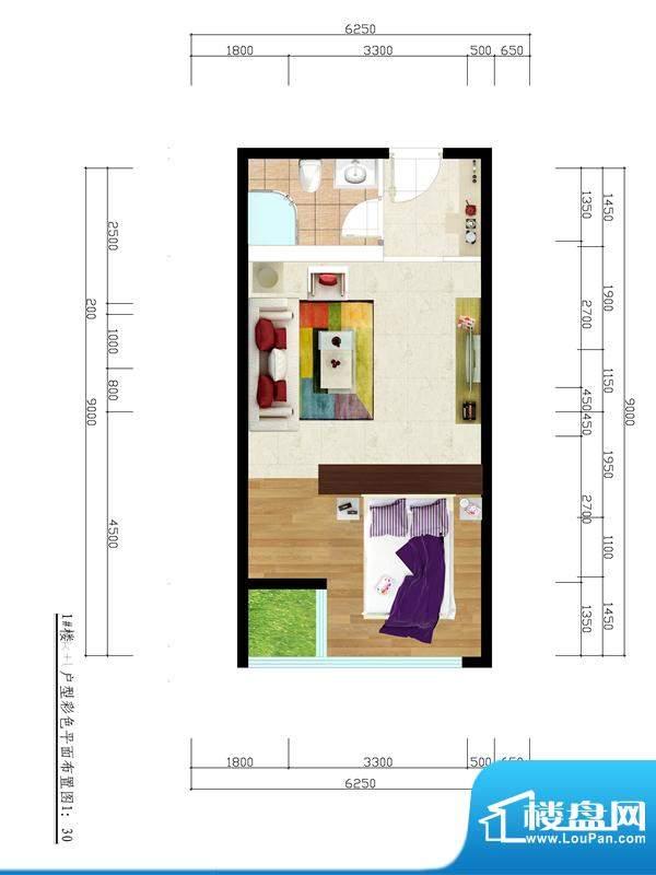 东城国际广场户型图1#正南53平面积:53.00平米