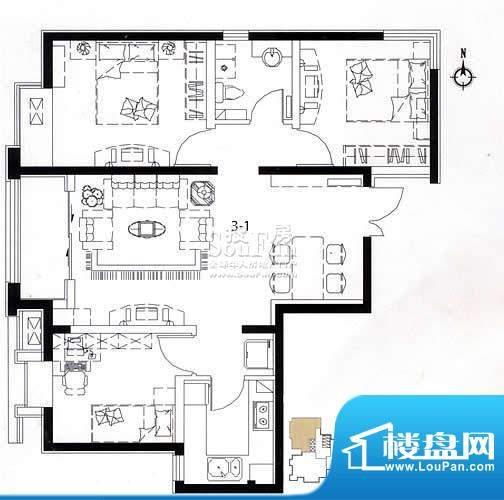 荣盛阿尔卡迪亚户型图3-1已售完面积:92.00平米