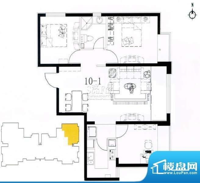 荣盛阿尔卡迪亚户型图10-1已售面积:99.00平米
