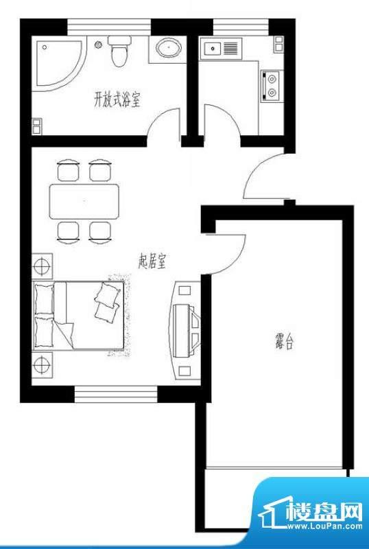 东岸酷博户型图D4户型 1室1厅1面积:49.00平米