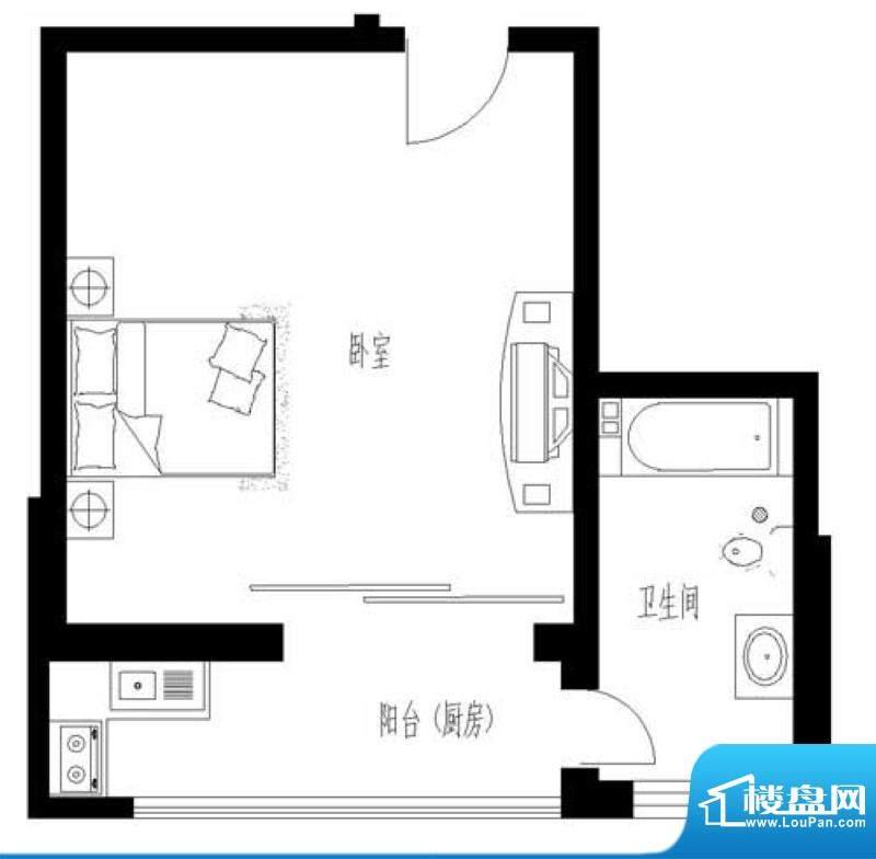 东岸酷博户型图C2户型 1室1厅1面积:53.00平米