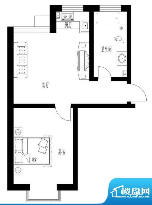 东岸酷博户型图C3户型 1室1厅1面积:57.00平米