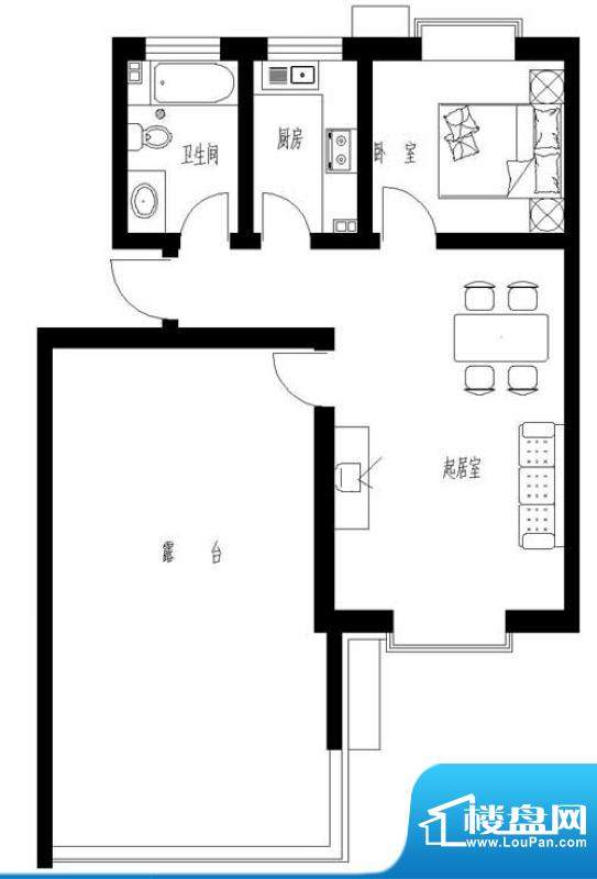 东岸酷博户型图A4户型 1室1厅1面积:62.00平米